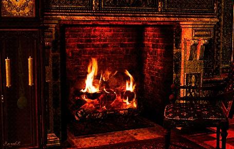 Анимация Камин с горящим огнем рядом часы / Эльза68/ (© qalina), добавлено: 13.06.2015 14:36
