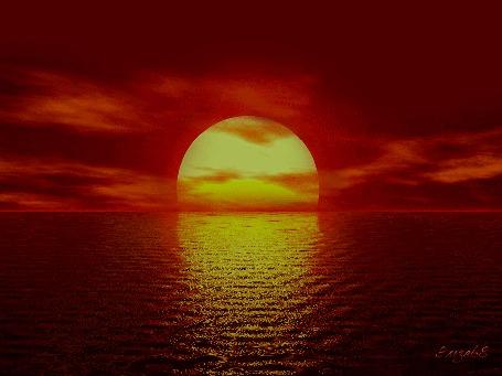 Анимация На фоне моря закат солнца / Эльза68/