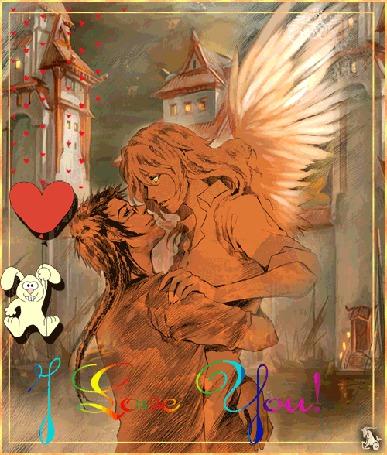 Анимация Девушка ангелочек в обнимку с парнем на фоне зайчика с сердечком / Love You/ (© qalina), добавлено: 13.06.2015 15:19
