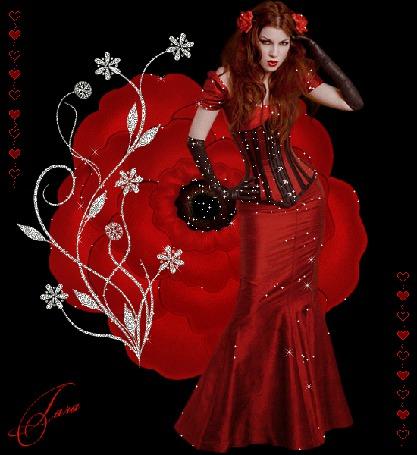Анимация Девушка в красном на фоне красной розы и сердечек с красными розами в волосах / Тара/ (© qalina), добавлено: 13.06.2015 15:56