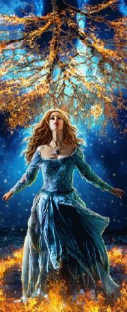 Анимация Девушка стоит на фоне звездного неба в огненном кольце подняв голову к горящей над ней ветке дерева (© царица Томара), добавлено: 13.06.2015 16:49
