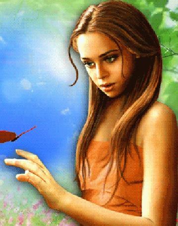 Анимация Девушка смотрит на бабочку (© zmeiy), добавлено: 13.06.2015 22:21