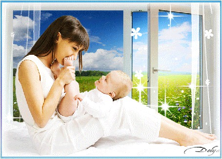 Анимация У открытого окна на постели сидит женщина с ребенком (© ДОЛЬКА), добавлено: 14.06.2015 02:15