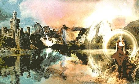 Анимация Пейзаж с озером и замком, открывающийся портал на деревянной тропе, девушки и облака (© shavaardan), добавлено: 16.06.2015 15:48