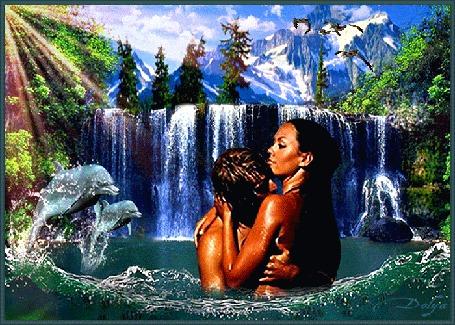 Анимация На фоне неба и гор лес и водопад, в озере дельфины и влюбленные мужчина и девушка