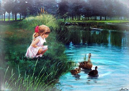Анимация Девочка на берегу возле пруда с уточками в парке / автор АссОль (© Natalika), добавлено: 17.06.2015 08:50