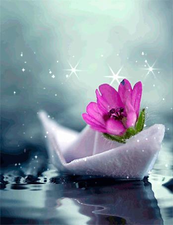 Анимация Бумажный кораблик с розовым цветком плавающий в воде (© Arinka jini), добавлено: 18.06.2015 13:33
