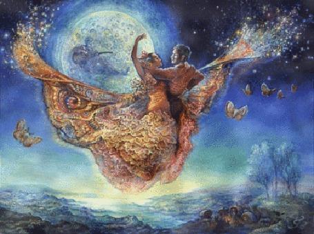 Анимация Парень с девушкой парят в воздухе на фоне полной луны