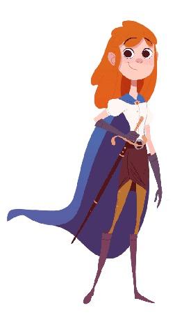 Анимация Рыжеволосая девушка с мечом