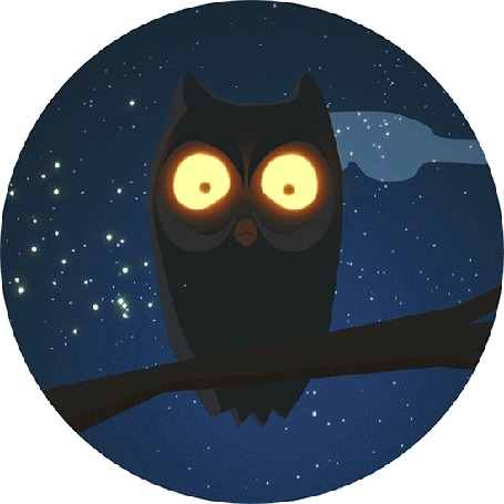 Анимация Сова сидит на ветке, ночью (© Seona), добавлено: 19.06.2015 12:29