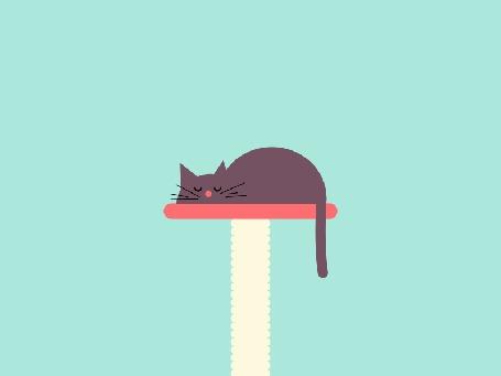 Анимация Кошка спит на кошачьей подставке, пуская во сне пузыри из носа (© Seona), добавлено: 19.06.2015 12:33