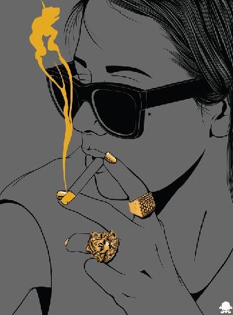 Анимация Девушка в очках курит сигарету (© Solist), добавлено: 19.06.2015 15:39