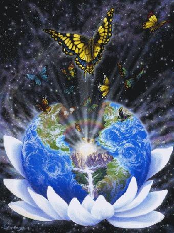 Анимация В лотосе планета Земля, в середине которой струится водопад и вылетают бабочки