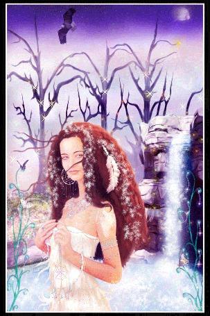 Анимация Девушка с голубыми глазами на фоне снежинок, бабочки и орла