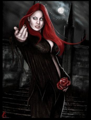 Анимация Готическая девушка с рыжими волосами в черном с красной розой на фоне луны (© qalina), добавлено: 19.06.2015 22:04