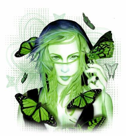 Анимация Девушка с зелеными волосами и зелеными глазами на фоне бабочек