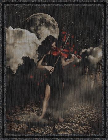 Анимация Девушка скрипачка под дождем на фоне луны и облачного неба играет на скрипке
