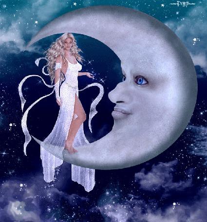Анимация Красивая фантастическая девушка на фоне звездного неба стоит на луне