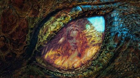 Анимация Глаз дракона, в котором отражается пламя и лицо девушки (© shavaardan), добавлено: 19.06.2015 23:30