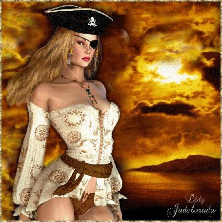 Анимация Девушка в пиратской шляпке с перевязанным глазом на фоне моря и облачного неба / Lfdg jadelarada/ (© qalina), добавлено: 19.06.2015 23:35