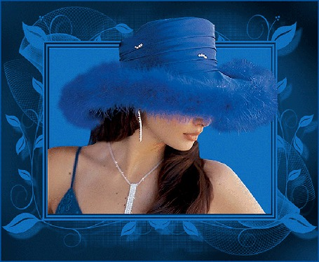Анимация Девушка в синей шляпе из пуха с украшениями на синем фоне (© qalina), добавлено: 19.06.2015 23:48