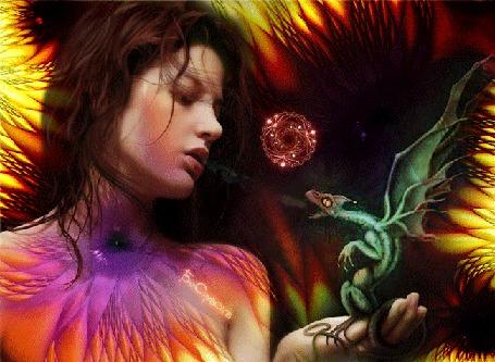 Анимация Девушка выдыхающая пар в сторону зеленого дракончика дышащего огнем, фрактальный шар в стороне (© Bezchyfstv), добавлено: 20.06.2015 00:11