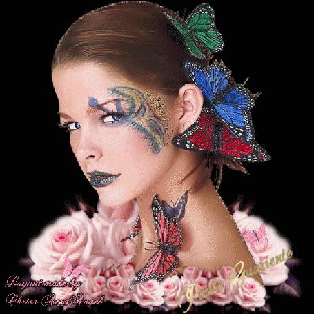Анимация Гламурная девушка с тату на лице и серыми губами на фоне бабочек и розовых роз / Aero Angel/