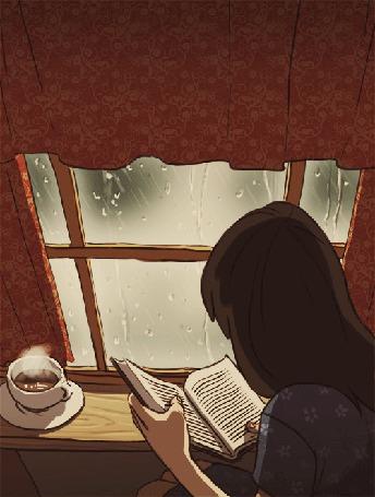 Анимация Девушка читает книгу, за окном дождь