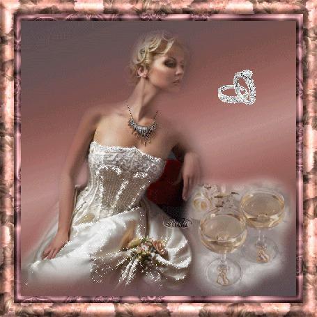 Анимация Девушка в свадебном платье с ожерельем на шее на фоне колечек и фужеров с шампанским / Пирола/
