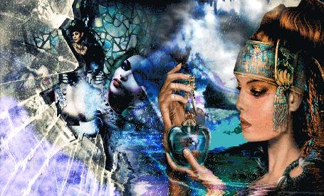 Анимация Рыжеволосая девушка открывает магический флакон, начинается гроза, тает лед и бьтся стекла, на заднем фоне за происходящим наблюдает волшебница и молодая леди (© shavaardan), добавлено: 25.06.2015 01:08