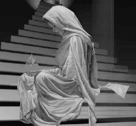 Анимация Девушка сидит на ступеньках со светящимся предметом в руках (© zmeiy), добавлено: 25.06.2015 12:25