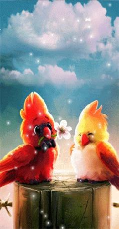 Анимация Попугай преподносит своей подружке цветок на фоне облачного неба и летящего тополиного пуха