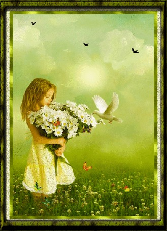Анимация Девочка в поле с букетом цветов в руках на фоне голубя, бабочек и неба