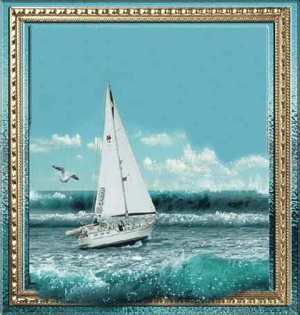 Анимация Парусник в море на фоне чаек (© qalina), добавлено: 25.06.2015 21:57