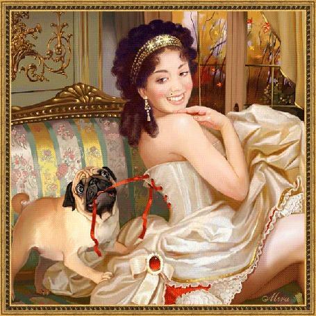 Анимация Ретро девушка в бальном платье на фоне собачка, а за окном осень//МИРА / (© qalina), добавлено: 25.06.2015 22:06