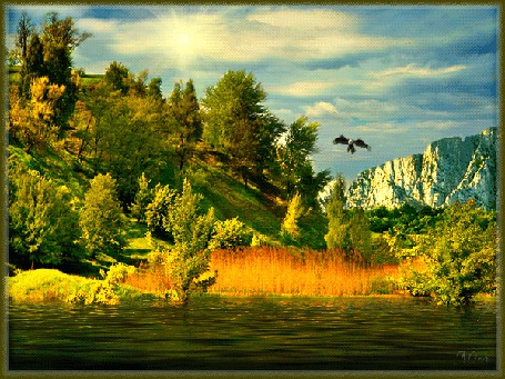 Анимация Орел летит над горами и лесами на фоне облачного неба и речки / МИРА/