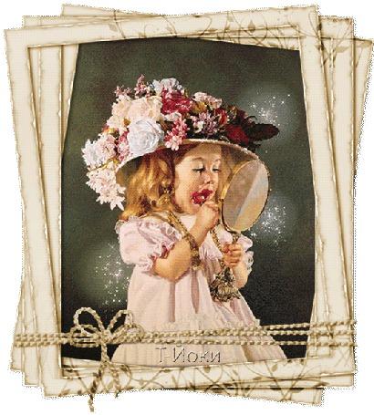 Анимация Девочка в шляпе, украшенной цветами смотрится в зеркало и красит губы / Т-Йоки/