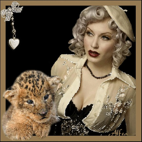 Анимация Красива девушка в берете с тигренком на фоне медальона в виде сердечка / Алфеа/