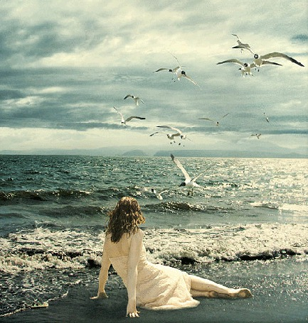 Анимация Девушка сидит на берегу моря на фоне моря, неба и чаек