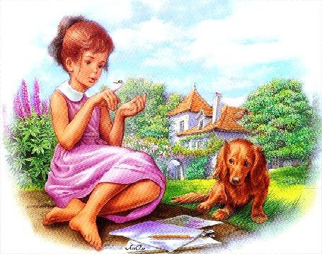 Анимация Девочка со стрекозой на руке рядом с собакой на фоне дома и деревьев, АссОль (© Natalika), добавлено: 26.06.2015 08:15