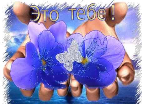 Анимация В руках над водой цветы и бабочка / Это тебе/ (© qalina), добавлено: 26.06.2015 11:20