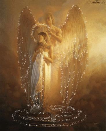 Анимация Влюбленный ангел охраняет свою любимую / Millisenta/