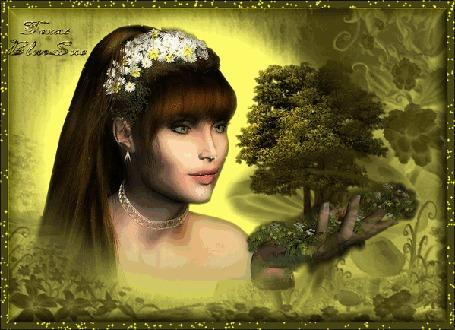 Анимация Девушка с веночком из ромашек на голове держит в руке дерево / Faxal Blue Baca/ (© qalina), добавлено: 26.06.2015 14:15