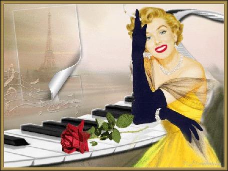 Анимация Девушка в черных перчатках и желтом платье на фоне рояля и розы / Скандалистка/ (© qalina), добавлено: 26.06.2015 15:17
