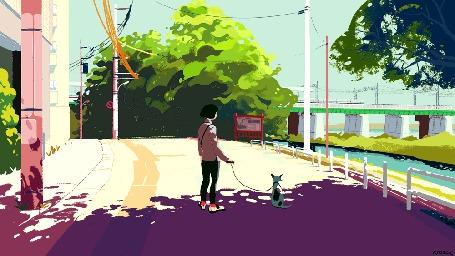 Анимация Девушка с собакой на прогулке