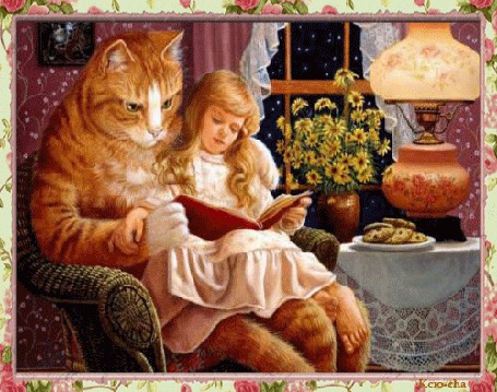 Анимация Девочка сидит рядом с котом и читает книгу на фоне настольная лампа Печенье Цветы в вазе за окном ночь (© qalina), добавлено: 27.06.2015 14:01