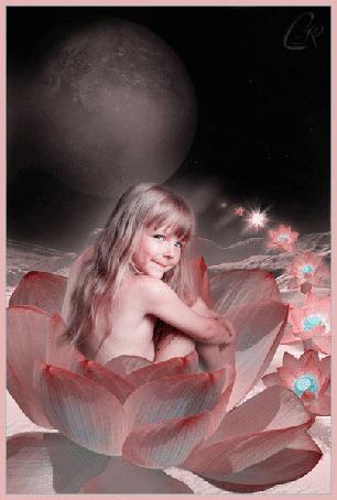 Анимация Девочка сидит в цветочке на фоне луны