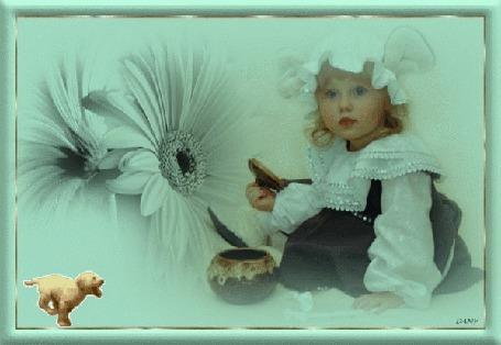 Анимация Девочка на фоне цветка и бегущей собачки / DANY/ (© qalina), добавлено: 27.06.2015 14:34