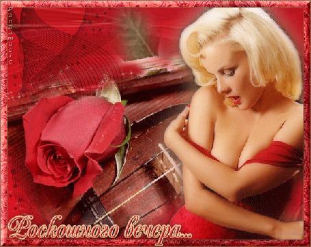 Анимация Красавица Мерлин Морло на фоне красной розы / Роскошного вечера, Pannamusic/