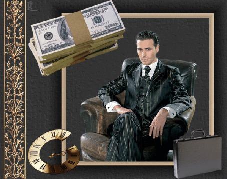 Анимация Мужчина сидит в кресле на фоне дипломата, денег и часов (© qalina), добавлено: 27.06.2015 15:39